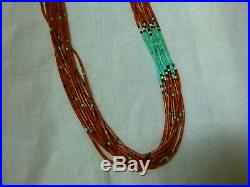 Vintage Coral Native American Necklace Heishi Turquoise
