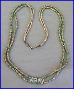 Vintage Double Turquoise & Shell Heishi Necklace 30 Strung on Cord Silver Clasp