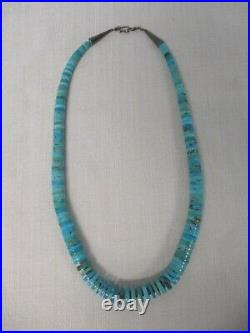 Vintage Genuine Turquoise Heishi Bead Sterling Silver Clasp Necklace