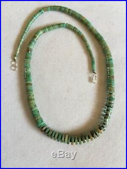 Vintage Graduating Royston Turquoise Heishi Bead Necklace Sterling Silver 18