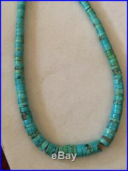 Vintage Graduating Turquoise Heishi Bead Necklace Sterling 21 7/8 Long