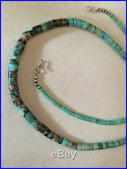 Vintage Graduating Turquoise Heishi Bead Necklace Sterling 24 Long
