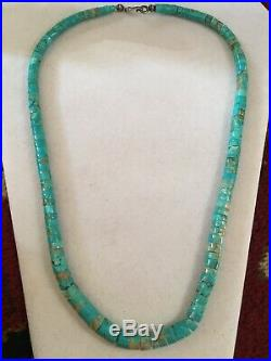 Vintage Graduating Turquoise Heishi Bead Necklace Sterling Silver 22.5 Long