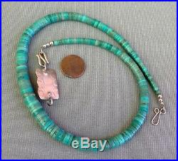 Vintage Graduating Turquoise Heishi Ster. Silver Coral Clasp Extender Necklace