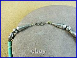 Vintage Green Blue Rust Turquoise Heishi Graduated Sterling Silver Necklace #323