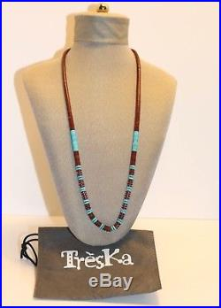 Vintage Harvey Era Turquoise Navajo Heishi Shell Old Pawn Necklace 25 Excellent