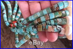 Vintage Heavy Turquoise Heishi Necklace WithJacla WithWhite Shell Corn 272g
