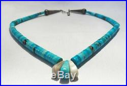 Vintage Heishi Bead Turquoise Santo Domingo Sterling Silver Necklace L326