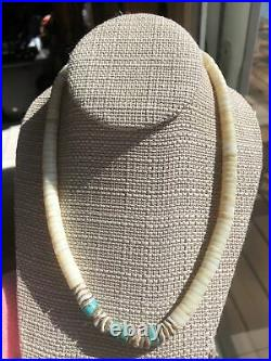 Vintage Heishi Shell & Turquoise 925 Sterling Silver Necklace 18