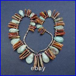 Vintage KEWA Santo Domingo SPINY OYSTER SHELL & GREEN TURQUOISE Heishi NECKLACE