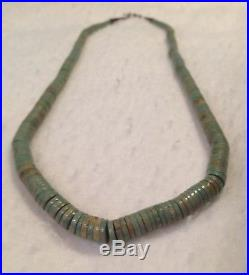 Vintage LARGE 24 Turquoise Graduated Heishi Disc Navajo Sterling Bead Necklace