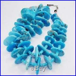 Vintage Large Disk Turquoise Santo Domingo Heishi Necklace 25 Inches