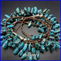 Vintage NAVAJO 2-Strand Sterling Silver TURQUOISE& Brown Shell HEISHI NECKLACE