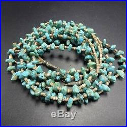Vintage NAVAJO 3-Strand Well-Matched TURQUOISE NECKLACE Hand Rolled Heishi Beads