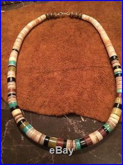 Vintage NAVAJO CHOKER HEISHI SILVER TURQUOISE STONE SHELL Bench BEAD NECKLACE