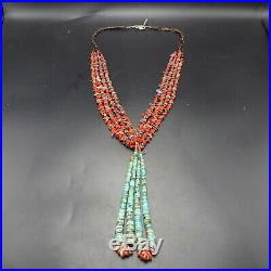Vintage NAVAJO Sterling Silver CORAL Heishi 5-Strand NECKLACE Turquoise Jaclas