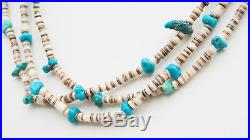 Vintage Native American 1900's Three Strand Turquoise Heishi Shell Necklace