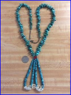 Vintage Native American 30 LONG Turquoise Heishi Necklace with Jaclas