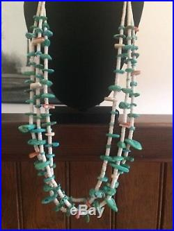 Vintage Native American 3 Strand Turquoise Heishi Necklace Squaw Wrap 32 LONG