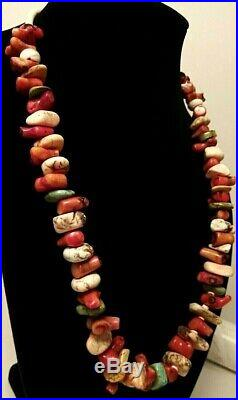 Vintage Native American Chunky Turquoise, Red Coral, & Heishi Nugget Necklace