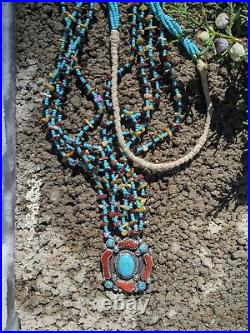 Vintage Native American Coral Turquoise Heishi Beads Silver Pendant Necklace
