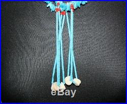 Vintage Native American Double Strand Turquoise and Heishi Bead Jacla Necklace