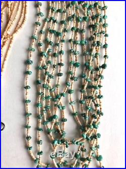 Vintage Native American Multi Strand Turquoise Heishi Bead Waterfall Necklace