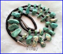 Vintage Native American Navajo Dry Creek Turquoise Nugget Heishi Necklace 29