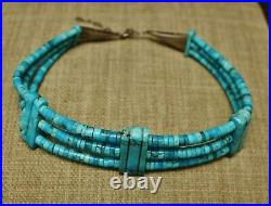 Vintage Native American Navajo Turquoise Heishi Sterling Silver Choker Necklace