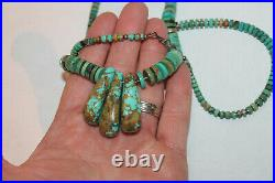 Vintage Native American Navajo Turquoise Round HEISHI Disc Bead Necklace 27