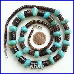 Vintage Native American Santo Domingo Turquoise Brown Heishi Bead Necklace 24 in
