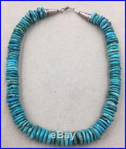 Vintage Native American Santo Domingo Turquoise Heishi Bead Necklace 14 MM