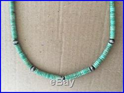 Vintage Native American Silver Water Bead & Turquoise Heishi Necklace