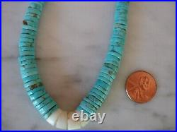 Vintage Native American Sleeping Beauty Turquoise White Shell Heishi Necklace