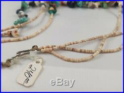 Vintage Native American Turquoise 3 Strand Heishi Shell Fetish Necklace 23 Long