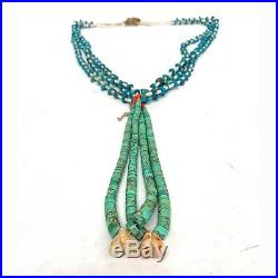 Vintage Native American Turquoise 3 strand Heishi Bead MOP Coral Jacla Necklace