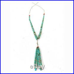 Vintage Native American Turquoise Heishi Bead & Red Coral Jacla Necklace