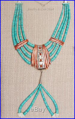 Vintage Native American Turquoise Heishi Ceremonial Necklace withSpiny Oyster
