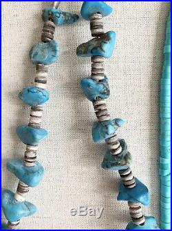 Vintage Native American Turquoise Heishi Necklace Lot of 2 Nugget Silver Beads