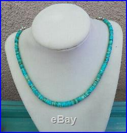 Vintage Native American Turquoise Heishi Necklace with Sterling Bead Extender