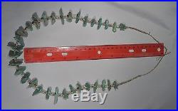 Vintage Native American Turquoise Nugget & Heishi Necklace 32 Stones 30 Inch