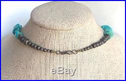 Vintage Native American Turquoise Nugget Heishi Sterling Bench Bead Necklace 25