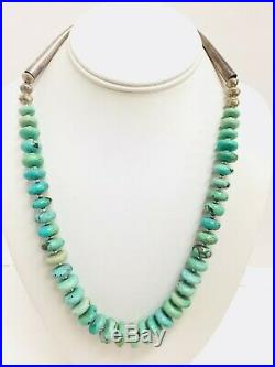 Vintage Native American Turquoise Sterling Silver Heishi Bench Bead Necklace 22
