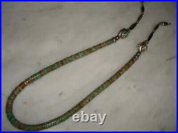 Vintage Natural Green Royston Heishi Necklace with Navajo Silver Bench Beads