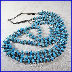 Vintage Navajo 3 Strand Brown Shell Heishi Turquoise Nugget Bead Silver Necklace