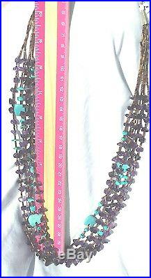 Vintage Navajo 5 Strand Turquoise, Amethyst, & Heishi Shell Handcrafted Necklace