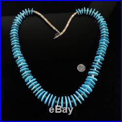 Vintage Navajo Blue turquoise disc bead pen shell heishi Native necklace