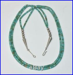 Vintage Navajo Double Strand Turquoise Heishi Bead Necklace