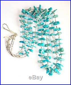 Vintage Navajo Double Strand Turquoise Nugget Heishi Bead Necklace 40