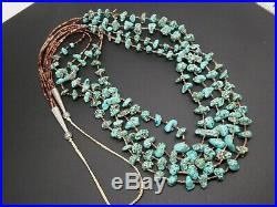 Vintage Navajo Four Strand Heishi Blue Turquoise Nugget Sterling Necklace 34